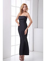 cheap -Mermaid / Trumpet Formal Evening Dress Strapless Ankle Length Satin with Bandage 2021