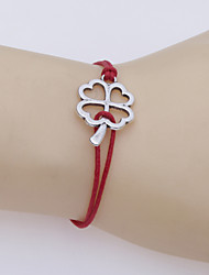 cheap -Women's Leather Bracelet Love Clover Ladies Unique Design Fashion Silver Plated Bracelet Jewelry Red / Blue For Party Daily Casual