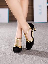 cheap -Women's Modern Shoes Ballroom Shoes Salsa Shoes Line Dance Heel Cuban Heel Black and Gold Brown Royal Blue Buckle / Suede
