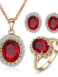 cheap -Women's Crystal Synthetic Diamond Jewelry Set Solitaire Oval Cut Circle Ladies Birthstones Crystal Cubic Zirconia Imitation Diamond Earrings Jewelry Red For Wedding Party Daily Casual / Rings