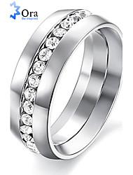 Недорогие -Жен. Кольцо прядильное кольцо Кольца Грув Серебряный Синтетические драгоценные камни Нержавеющая сталь Мода Для вечеринок Бижутерия