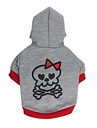 cheap -Cat Dog Hoodie Dog Clothes Skull Gray / Red Black / Gray Cotton Costume For Spring &  Fall Winter Men's Women's Casual / Daily