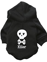 cheap -Cat Dog Hoodie Skull Fashion Winter Dog Clothes Black Costume Cotton XS S M L