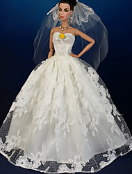 cheap -Doll Dress Wedding For Barbiedoll Lace Organza Dress For Girl's Doll Toy