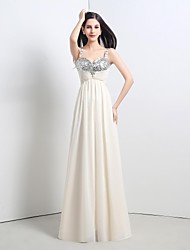 cheap -A-Line Sparkle & Shine Formal Evening Dress Straps Sleeveless Floor Length Chiffon Sequined with Lace Pleats Beading 2021