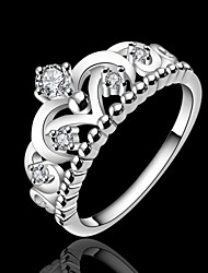 cheap -Women's Statement Ring Princess Crown Ring Silver Silver Plated Ladies Fashion Wedding Party Jewelry / Rhinestone