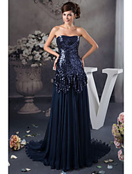 cheap -A-Line Formal Evening Dress Strapless Floor Length Satin Sequined with Sequin 2021