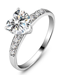 Недорогие -Жен. Кольцо Белый Стерлинговое серебро Мода Для вечеринок Бижутерия Сердце Любовь