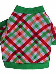 cheap -Cat Dog Shirt / T-Shirt Dog Clothes Costume Cotton Plaid / Check Cosplay Christmas XS S M L
