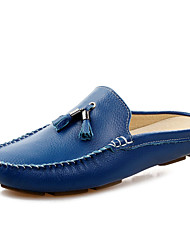 cheap -Men's Comfort Shoes Leather Spring / Summer Clogs & Mules Black / White / Blue / Tassel / Tassel