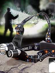 cheap -Headlamps Waterproof 1800lm LED 3 Emitters 4 Mode with Charger Waterproof Camping / Hiking / Caving Cycling / Bike US Plug / Aluminum Alloy / 4 (High > Mid > Low > Strobe)