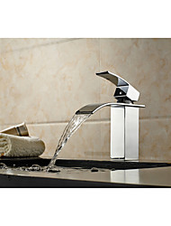 cheap -Bathtub Faucet - Art Deco / Retro Chrome Floor Mounted Ceramic Valve Bath Shower Mixer Taps / Single Handle One Hole