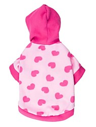 cheap -Cat Dog Hoodie Dog Clothes Heart Pink Polar Fleece Cotton Costume For Spring &  Fall Winter Women's Casual / Daily