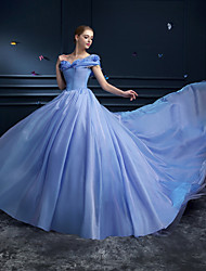 cheap -Ball Gown Formal Evening Dress Off Shoulder Cathedral Train Organza with Pick Up Skirt 2020