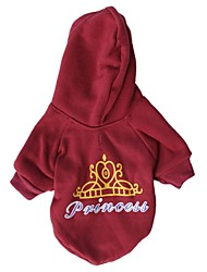 cheap -Cat Dog Coat Hoodie Dog Clothes Tiaras & Crowns Letter & Number Polar Fleece Cotton Costume For Winter Cosplay