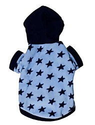 cheap -Cat Dog Hoodie Winter Dog Clothes Blue Costume Polar Fleece Cotton Stars Casual / Daily XS S M L