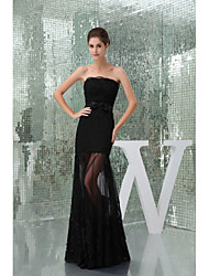 cheap -A-Line Formal Evening Dress Strapless Floor Length Lace Tulle with Beading 2021