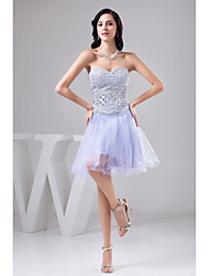 cheap -A-Line Cocktail Party Dress Sweetheart Neckline Knee Length Tulle Sequined with Beading 2021