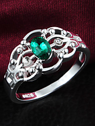 cheap -925 Silver Plated Party/Daily Emerald Statement Rings 1pc