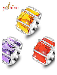 cheap -Men's Statement Ring Synthetic Amethyst Orange Purple Red Silver Ladies Fashion Party Jewelry