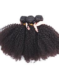 cheap -3 Bundles Peruvian Hair Kinky Curly Natural Color Hair Weaves / Hair Bulk Human Hair Weaves Human Hair Extensions