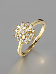 cheap -Women's Statement Ring Golden Gold Plated Ladies Fashion Wedding Party Jewelry Cluster Pave Flower / Zircon