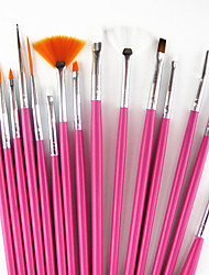 cheap -15pcs Wood / Plastic / Nylon Nail Art Tool Nail Art Kit Nail Acrylic Brush For Finger Nail Toe Nail Acrylic Brush Novelty nail art Manicure Pedicure Classic / Cute Daily / Metal