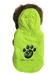 cheap -Cat Dog Coat Hoodie Dog Clothes Letter & Number Green Cotton Costume For Spring &  Fall Winter Men's Women's Casual / Daily