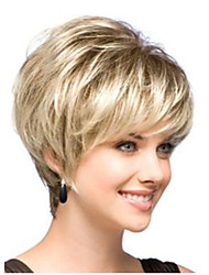 cheap -Synthetic Wig Straight Straight Bob With Bangs Wig Blonde Short Synthetic Hair Women's Dark Roots Side Part Blonde StrongBeauty