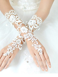cheap -Lace / Polyester Wrist Length Glove Classical / Bridal Gloves / Party / Evening Gloves With Solid