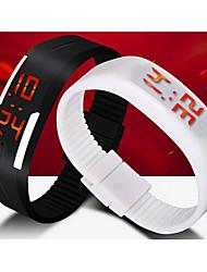 Недорогие -Муж. Спортивные часы Наручные часы Цифровой силиконовый Черный / Белый / Синий Календарь LED Цифровой Синий Розовый Светло-синий Один год Срок службы батареи