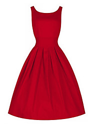 cheap -Women's Party Vintage Loose Dress - Solid Colored Red, Pleated Cotton Army Green Red Blue L XL XXL