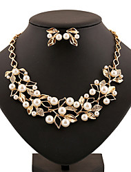 cheap -Pearl Jewelry Set Statement Ladies Vintage Party Work Casual Rhinestone Earrings Jewelry Gold / Silver For / Necklace