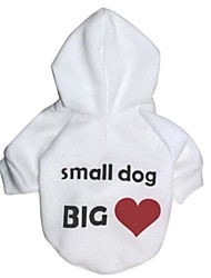 cheap -Cat Dog Coat Hoodie Dog Clothes Heart Letter & Number White Polar Fleece Cotton Costume For Winter Cosplay