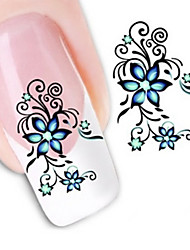 cheap -1 pcs 3D Nail Stickers Water Transfer Sticker nail art Manicure Pedicure Flower / Abstract / Fashion Daily