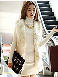cheap -Women's Going out Fashion Spring / Fall / Winter Vest, Solid Colored Sleeveless Faux Fur White