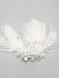 cheap -Women's Flower Girl's Feather Alloy Headpiece-Wedding Special Occasion Hair Combs 1 Piece