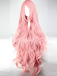 cheap -Synthetic Wig Cosplay Wig Wavy Kardashian Wavy Asymmetrical With Bangs Wig Pink Long Pink Synthetic Hair Women's With Bangs Pink