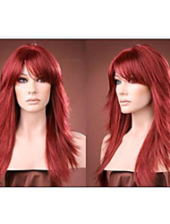 cheap -Synthetic Wig Curly Curly Layered Haircut With Bangs Wig Long Synthetic Hair Women's Red StrongBeauty