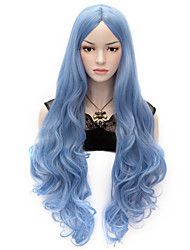 cheap -Synthetic Wig Cosplay Wig Wavy Body Wave Style Wig Blue Synthetic Hair Women's Blue Wig Very Long