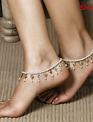 cheap -Anklet Beaded European Women's Body Jewelry For Daily Casual Crystal Pearl Imitation Pearl White