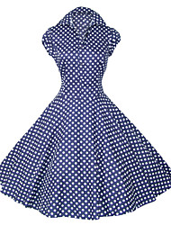 cheap -Women's Party Vintage A Line Dress - Polka Dot Shirt Collar All Seasons Cotton Black Navy Blue Red L XL XXL