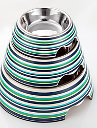 cheap -High Quality Stripe Print Melamine Bowl with Stainless Steel Dish for Dogs and Cats (Assorted Sizes, Assorted Colors)