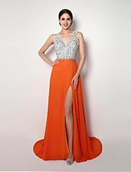cheap -Formal Evening Dress A-line / Sheath / Column Straps Sweep / Brush Train Chiffon with
