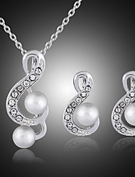 cheap -Jewelry Set Pendant Necklace Music Music Notes Statement Luxury Party Fashion Pearl Cubic Zirconia Silver Plated Earrings Jewelry White For Party Special Occasion Anniversary Birthday Gift