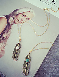 cheap -Women's Pendant Necklace Tassel faceter Feather Ladies Tassel Vintage Bohemian Alloy White Blue Necklace Jewelry For Party Daily