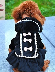 cheap -Cat Dog Coat Hoodie Dress Winter Dog Clothes Black Pink Costume Polar Fleece Cotton Bowknot Cosplay Wedding XXS XS S M L