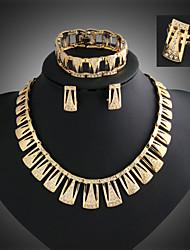 cheap -Lucky Doll Women's Vintage 18K Gold Plated Zirconia Geometric Tassel Necklace & Earrings & Bracelet & Ring Jewelry Sets