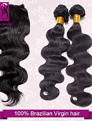 cheap -Brazilian Hair Body Wave Classic Virgin Human Hair Hair Weft with Closure Human Hair Weaves Human Hair Extensions