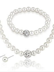 cheap -Lady's Pearl Necklace Set  With Rhinestone